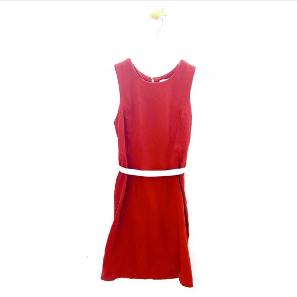James Perse Dresses & Skirts - james perse / red sleeveless casual belted dress